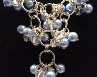 Necklace, Swarovski crystals and pearls, Silver-filled