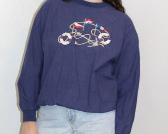80's NAUTICAL LONGSLEEVED SHIRT| Medium| Navy| Peanut Butter and Jelly|