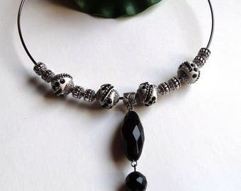 Ethnic pendant necklace black and white beads Indonesian crew neck onyx pendant - gift idea for woman