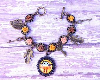 Autumn Owl Charm Bracelet- Handmade