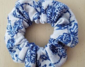White and Blue Flower Scrunchie