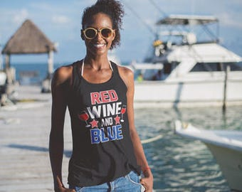 Red Wine and Blue TRi-Blend Racerback Tank Top