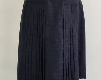 1950s/60s Hit Parader A-Line Pleat Vintage Skirt, Front Pockets, All Wool, Secretary Skirt, Fifties Australian Vintage, Small