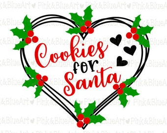 Cookies for Santa SVG Cut Files Silhouette Cameo Svg for Cricut and Vinyl File cutting Digital cuts file DXF Png Pdf Eps