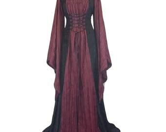 renaissance gown, whitby gothic dress, medieval dress, halloween wedding dress, plus size