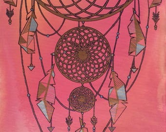 """Large Mixed Media Painting--""""Dreamcatcher I"""""""