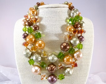 Triple strand beaded necklace - earth tones