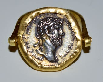 ancient Roman coin design and yellow gold ring. Handmade
