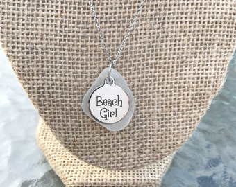 Sea Glass Necklace - Beach Girl Charm Necklace - Beach Necklace