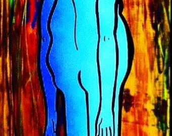 Blue Boy (Acrylic and Spraypaint on Wood)