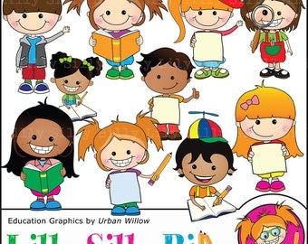 Cute children clipart, Commercial use school graphics, Education and learning clipart, funny kids with books, Teachers aid graphics.