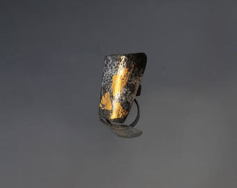 Free Shipping!!! Oxidized Sterling Statement ring  with 24K Gold using Keum -Boo technique/One of a Kind/ Handmade design
