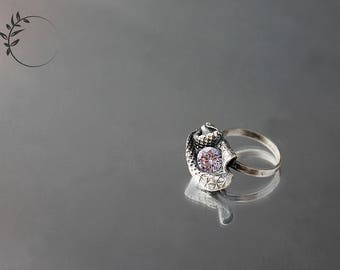 Free Shipping!!! Purple Silver Petal Ring with Zirconium
