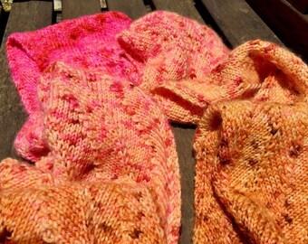 Wool Scarf Gradient tones from burnt orange to pink