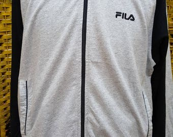 Vintage FILA / full zipper / small embroidery logo / medium size sweater (Q004)