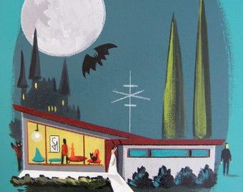 El Gato Gomez Universal Monsters Mid Century Modern House Art Print