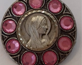 Religious French  antique silvered  brooch of Holy Mary Our Lady with pink stones