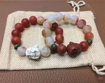 Earth & Fire Buddha Bracelet Set (Can be sold separately)