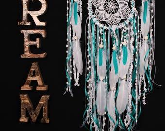Dreamcatcher Boho Turquoise Dream Catcher medium crochet dreamcatcher gift wedding ceremony photo backdrop Dreamcatcher Bohemian handmade