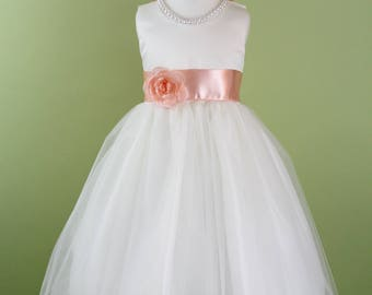 Flower Girl Dress with Classic Tulle Skirt (Peach Sash and Flower) for Baby, Toddler, Girls