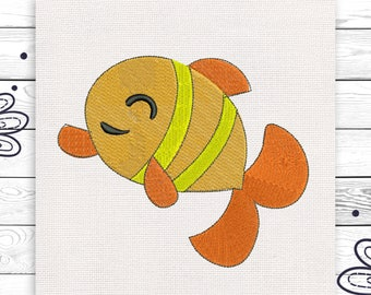 Happy fish Embroidery design Digital 3 sizes Machine embroidery INSTANT DOWNLOAD EE5139