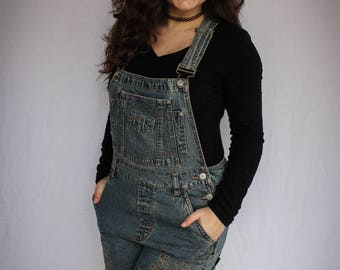 Vintage Embroidered Overalls | Shorts | Vintage Stitching | Overalls