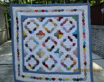Lap Quilt/Scrap/Drunkards Path/Hand Pieced/Hand Quilted/Hand Made/100% Cotton