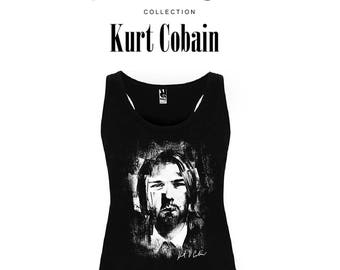 Kurt Cobain NIRVANA-Rock & Roll Stars Collection-Woman Tank Top Suspenders Size-M-L-XL Punk Grunge rock Nevermind FooFighters Alternative Girl
