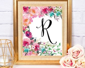Custom Initial Printable Art Floral Digital Download ~ Home Office Dorm Nursery Decor Wall Art Printable