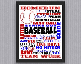 Baseball Print, Baseball Digital Print, Baseball Poster, Baseball Wall Art, Baseball Decor, Baseball Printable, Coach Gift