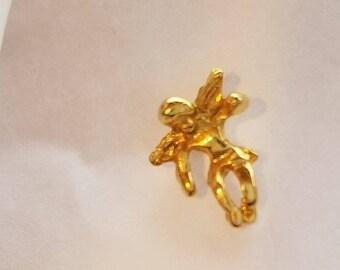 Tiny Gold Tone Guardian Angel Pin Brooch