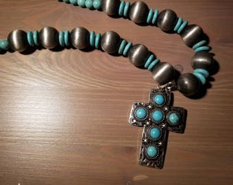 Navajo Pearl Cross w/ Pearl Earrings