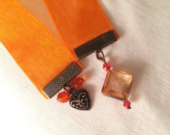 Brand-pages-bookmark Crystal bookmark with Ribbon-bookmark orange book heart bookmark gift for reader-book-book jewelry accessory