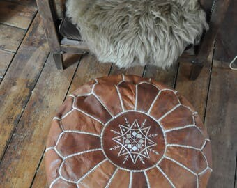 Leather Moroccan Poof