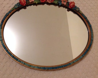 Beautiful Victorian Oval Mirror with Flowers