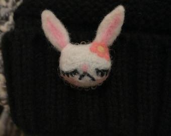 House of Ziggy, bunny brooch, wool brooch, needle felt, brooch, winter, Christmas, gift, cute, kawaii, unique, handmade