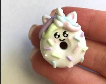 Handmade Polymer Clay Unicorn Donut Charm