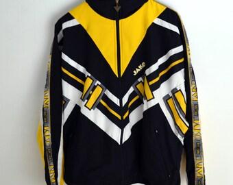 Vintage jacket Jako M L Vintage Windbreaker men M Windbreaker 1990s Windbreaker 90s windbreakers Black yellow windbreaker Vintage jacket men