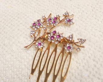 Wedding hair comb, winter bridal hair comb, bridal hair jewelry, crystal hair comb, gold hair comb, bridesmaid hair comb, brides headpiece,h