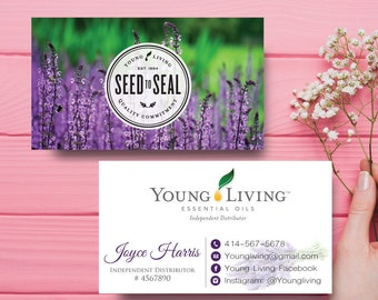 Young Living Business Card, Custom Young Living Business Card, Lavender Young Living, Custom Business Card, Printable Business Card yl93