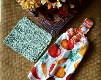Crochet Top Dishtowel and Dishcloth set