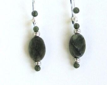 Jade and Serpentine Earrings