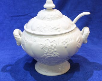 White Ceramic Electric Tureen with Ladle, Vintage Soup Cooker, Fruit Motif
