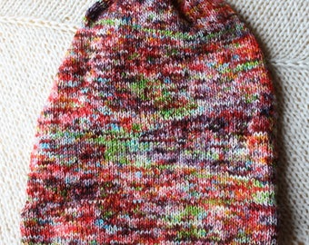 Slouchy Hand Dyed Rainbow Speckled Hat