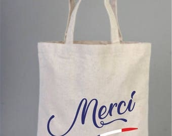 Merci, Merci Bag, Wedding Welcome Tote Bag, Merci Gifts, Bridesmaid gifts, Wedding Favors,  Bridal Shower, Cotton Bag, Personalized Bags