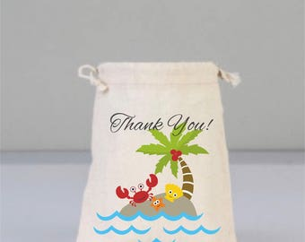 Crab, Shell, Starfish, Thank You Bags, Drawstring Mini Favor Bags, Beach Wedding, Wedding Gifts, Bridal Shower Gifts, Cotton Bag, Birthday