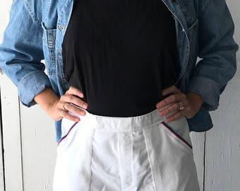 1980's Tennis Shorts | Women's White High Waisted Shorts | Vintage White Shorts