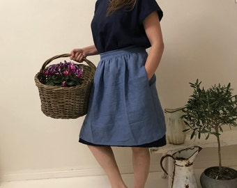 Linen Apron, Hand Made Apron, Half Blue Apron Gray Cafe Apron, Short Apron, Linen Half Apron, Wrap Apron with Side Pockets White Black Green