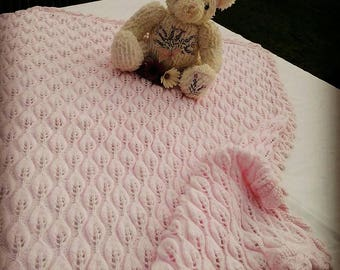 Pink Hand-knit Baby Blanket | Sirdar Snuggly 4ply Wool