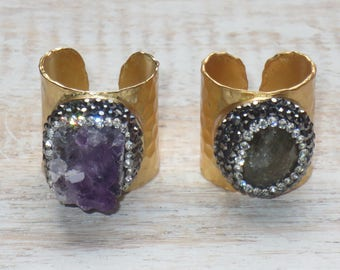 Boho Chic Pave Cz Encrusted Amethyst Hammered Gold Cuff Adjustable Rings Cuff Rings